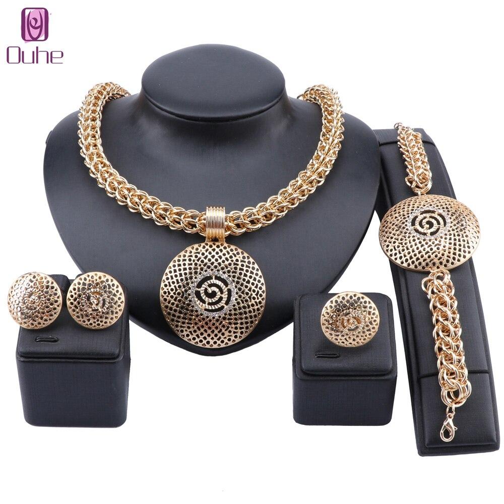 Luxury Nigerian Women Wedding Jewelry Sets Big Chunky Necklace Earrings Bridal Dubai Gold Bracelet Ring Jewelry Set
