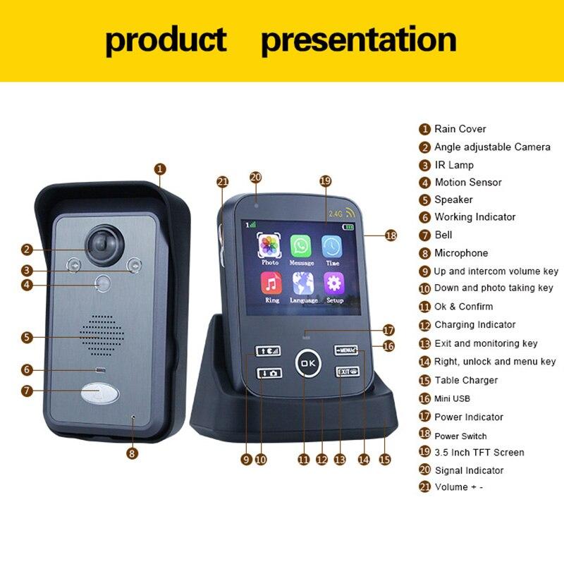 2.4GHz Wireless Video Doorbell Intercom System Door Bell Camera with 3.5 Inch Monitor Unlock Access Control for Villa Apartment enlarge