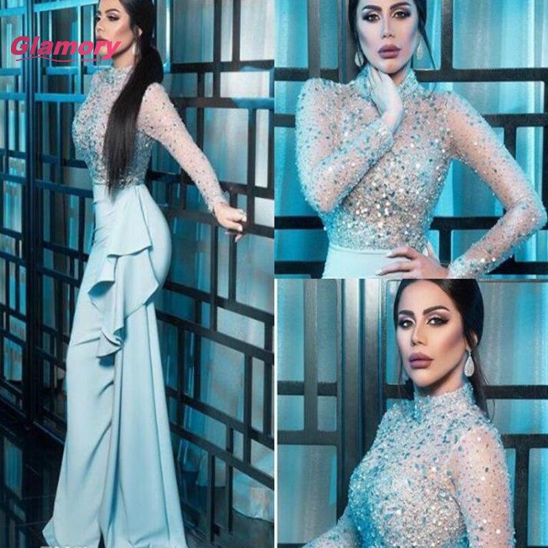 فستان سهرة نسائي عربي إسلامي مكشكش طويل الأكمام مكشكش مطرز بحورية البحر باللون الأزرق الفاتح