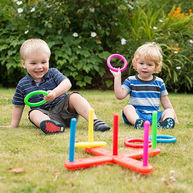 1 Set Plastic Ring Throwing Ferrule Kids Outdoor Sport Hoop Ring Toss Toy Cross Garden Games Pool for Children Gift Unisex