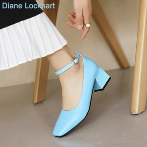 Spring Autumn Blue Mary Jane High Heel Shoes Women Square Toe Pumps Women Retro Fashion One Strap Buckle 5 cm Chunky Heels 2021