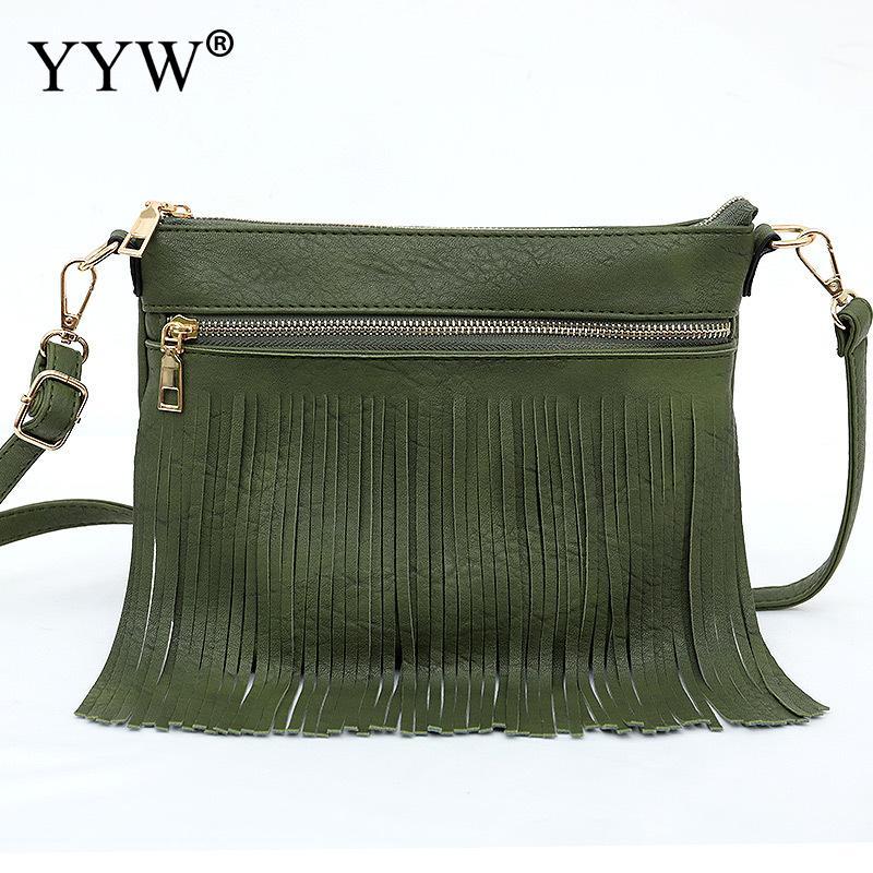 Microfibra borlas Crossbody Bolsa de marca de moda Durable Softbag cremallera mensajero bolsas mujer negro verde Casual Bolsa femenina