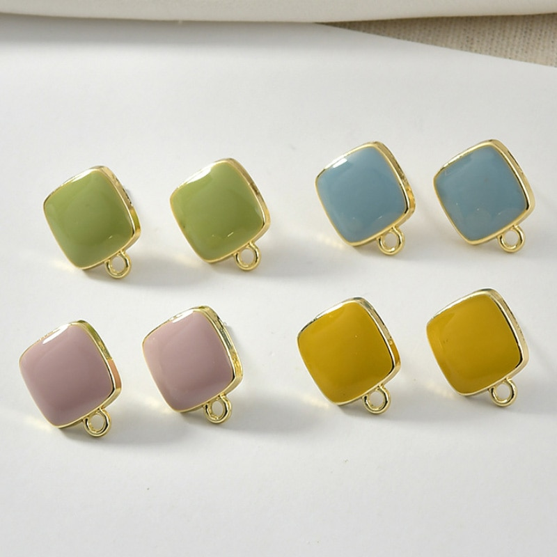 10Pair DIY Stud Earring Tray Wholesale Female Accessories Alloy Drip Process Square Sliver Needles Handmake Manual Material