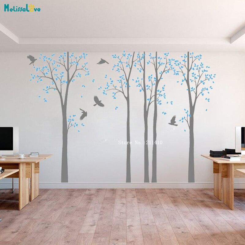Vinilos decorativos de pared de árbol de abedul blanco vinilos autoadhesivos decoración del hogar para sala de estar cuarto de niños regalo único YT4330