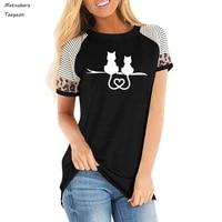 women clothing cat couple resting together print tee t shirt women top short sleeve female leopard print t shirt