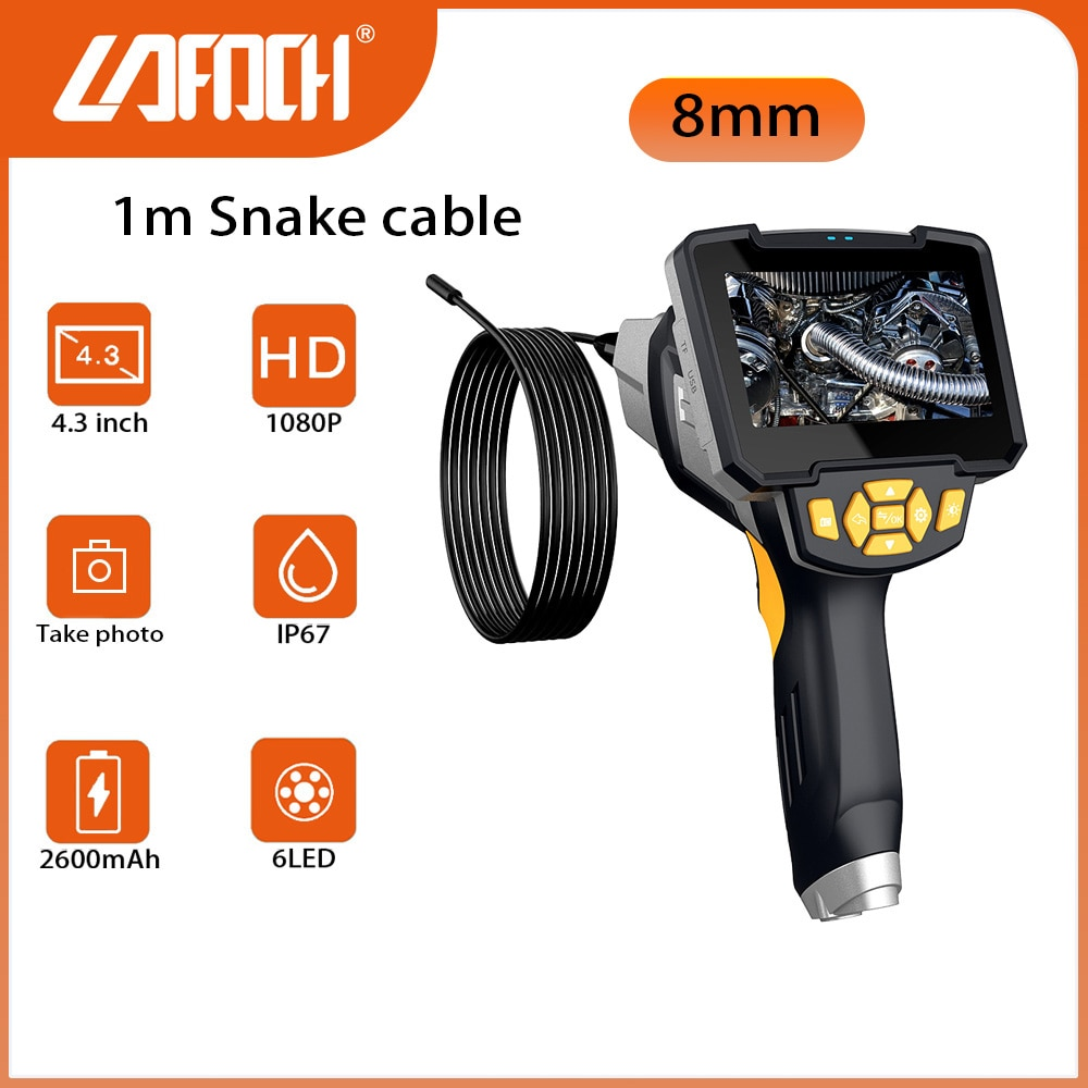 """Review HD 8mm Digital Industrial Endoscope Borescope Camera 4.3"""" Screen 1m Snake cable Camera for house maintenance,with 32GB TF Card"""