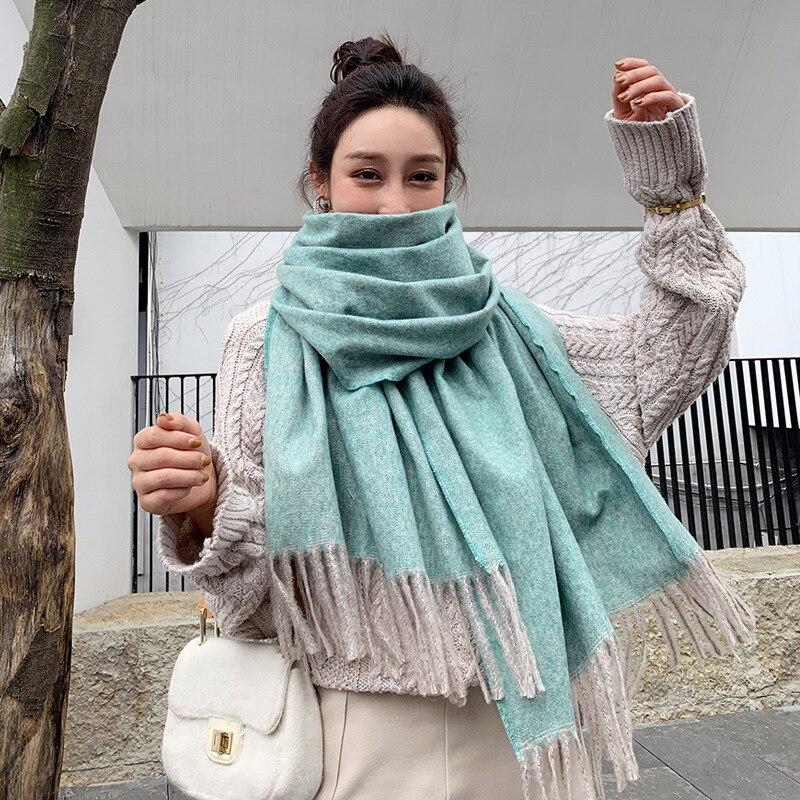 2019 soild bufanda de mujeres de Cachemira invierno cálido chal y envolturas hijab tienda pashmina larga foulard femenino bufandas de cabeza