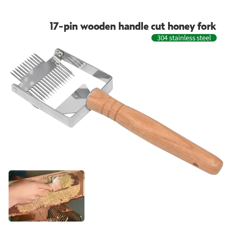 Stainless Steel Bee Hive Uncapping Fork Scraper Shovel 2 In 1 Honey Comb Double Needle Beekeeping Tools for Beekeeper