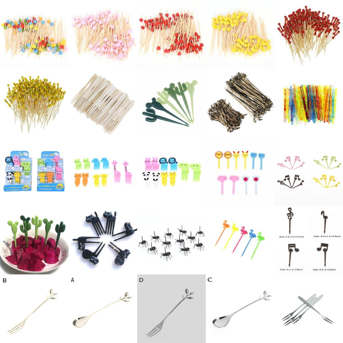 Cubertería, tenedor para frutas tenedores para tartas de postre, vajilla para picar comida, decoración de fiesta