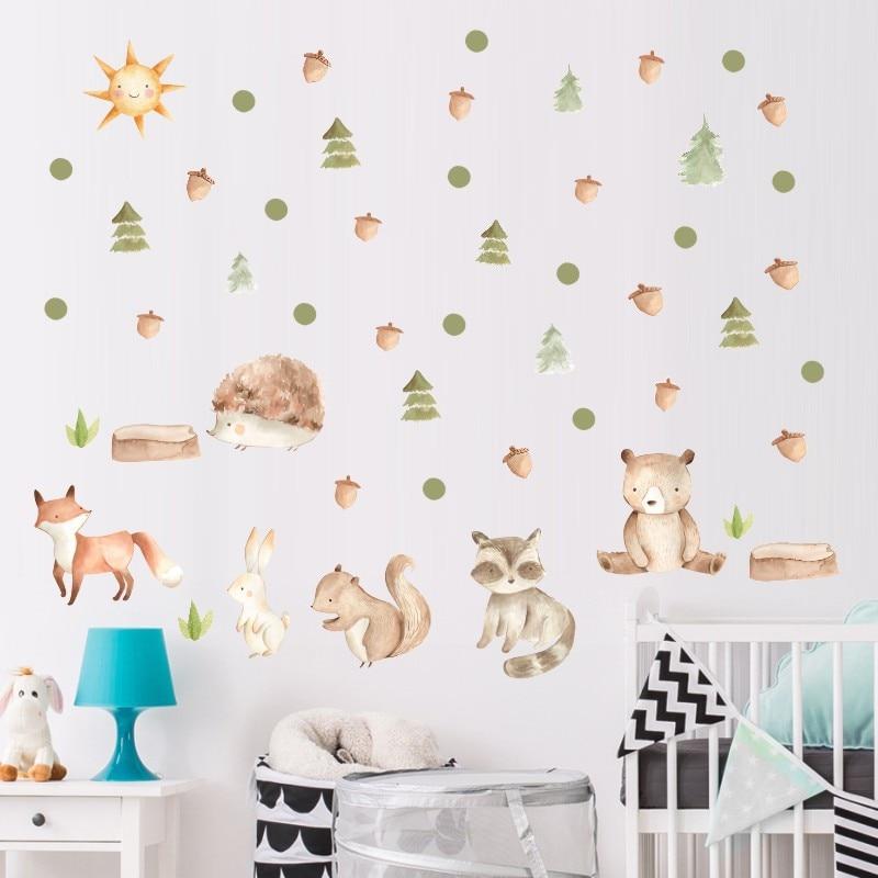 Zollor dos desenhos animados esquilo raposa adesivo de parede crianças quarto pinheiros cone vinil estilo nórdico decalque do berçário decoração de fundo para casa