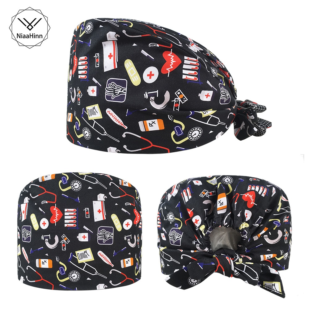 New style print Spa Frosted Hat Adjustable Cotton Scrubs hat beauty salon work scrub Caps laboratory