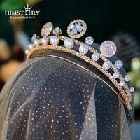 himstory elegant gold brides tiara headpieces pearls crystal brides hair headpieces wedding hair accessories