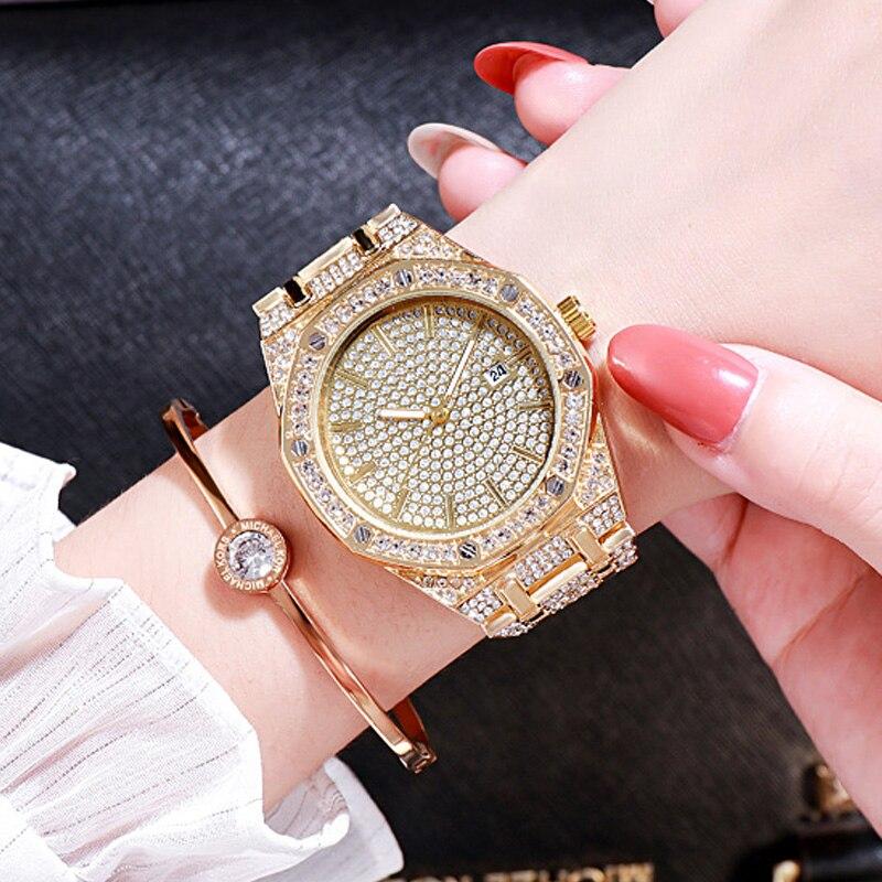 Relojes de cuarzo octogonal de moda 2019 para mujer, reloj de pulsera de lujo dorado con diseño de cristal, reloj de pulsera de acero completo a prueba de agua, reloj de Fecha