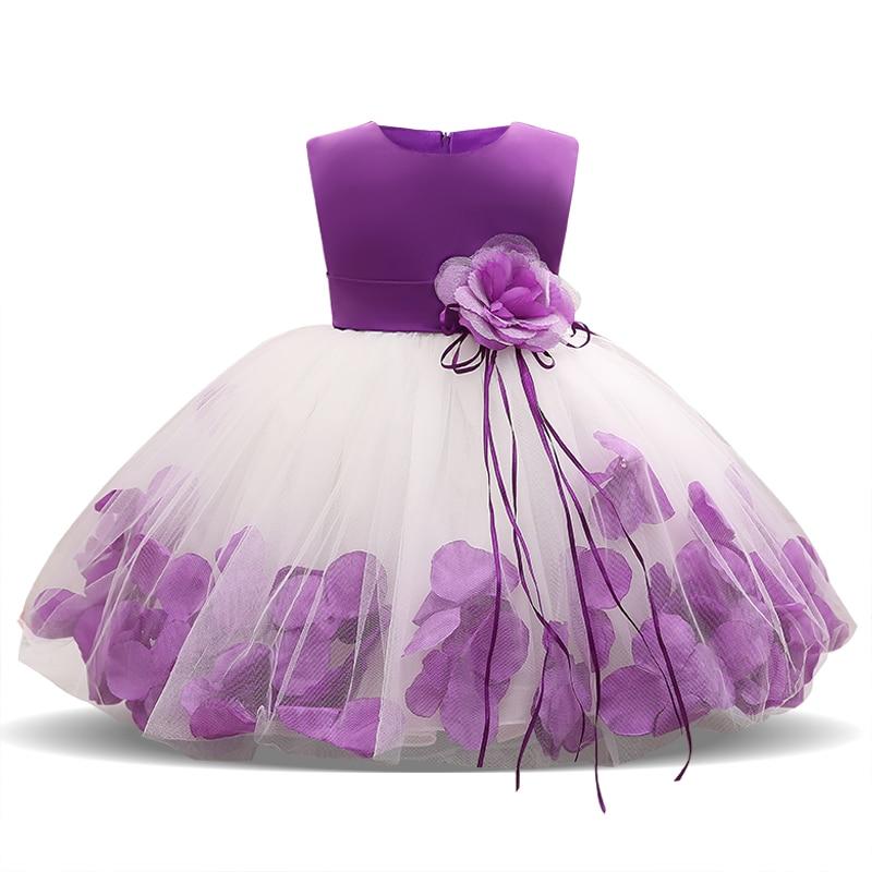 Robe pour bébés filles   Robe élégante, avec pétales de fleurs, tenue de soirée, demoiselle dhonneur
