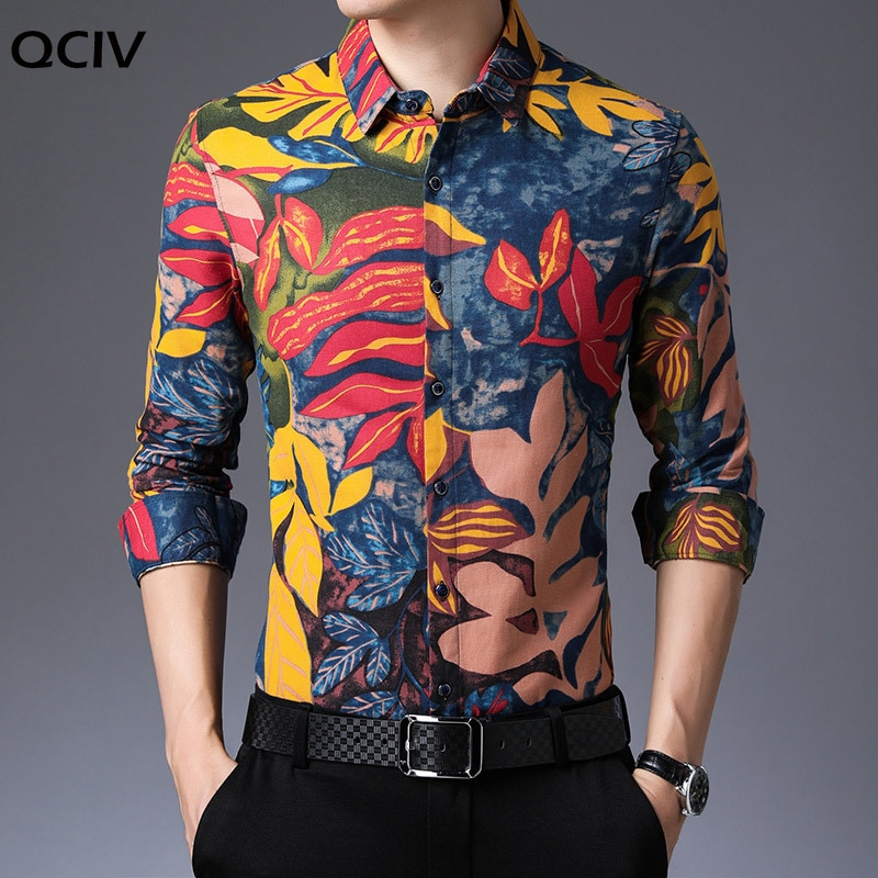 Fall New Fashion Shirts Mens Floral Korean High Quality Long Sleeve Regular Fit Street Wear Pattern Casual Clothes