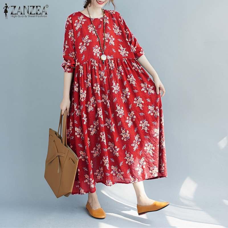 Femmes printemps Robe dété ZANZEA 2021 Vintage imprimé Robe Maxi décontracté à manches longues à fleurs Vestidos femme col rond Robe surdimensionné