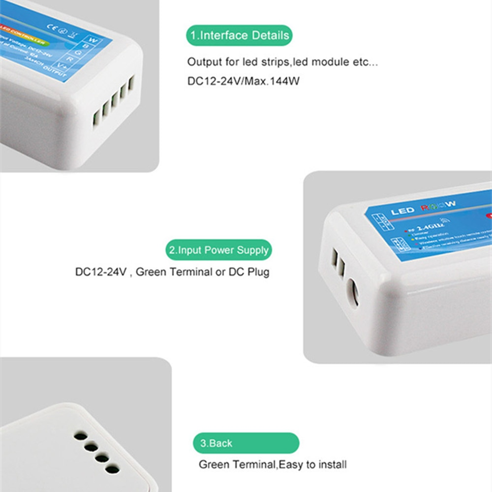 DST Sync Group RGBW LED Controller Dimmer DC12V 24V 12A Smart Touch Wireless 2.4G RF Remote Controller for RGBW LED Strip Lights enlarge