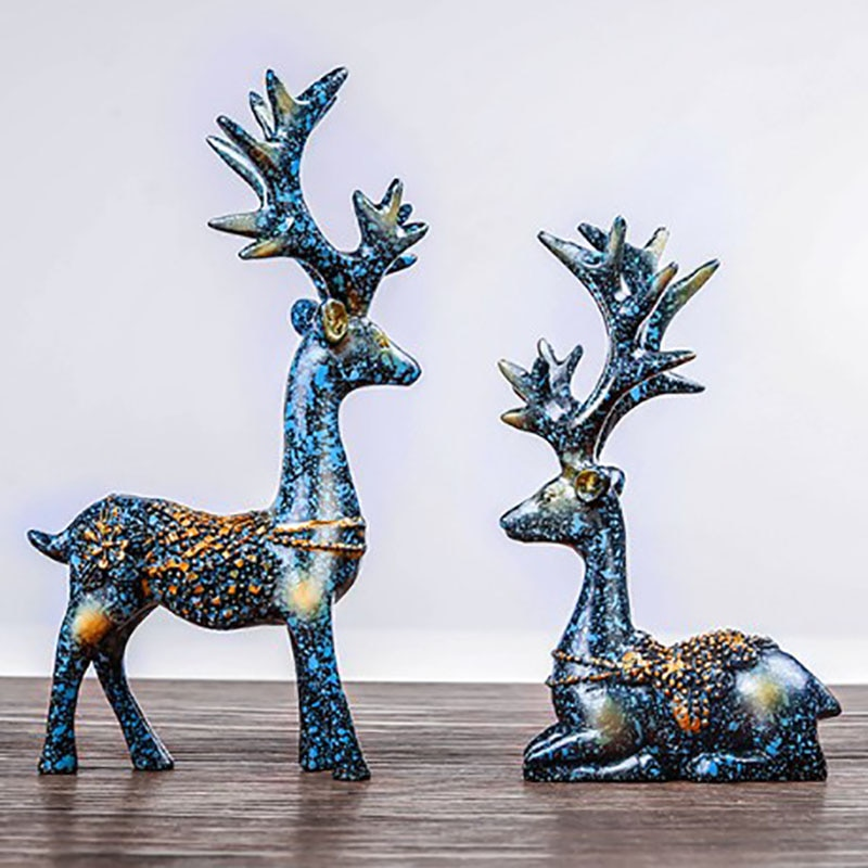 1Pair Resin Elk Sculpture Figurines For Interior,Nordic Home Decoration Statue Desktop Decor Elks Ornament nordic abstract geometric resin dog statue modern minimalist bulldog sculpture animal statue ornament craft decoration d056