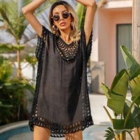 summer 2021 tassel black sheer dress mini vestido sexy hollow out beach coverup crochet see through swimsuit cover ups for women