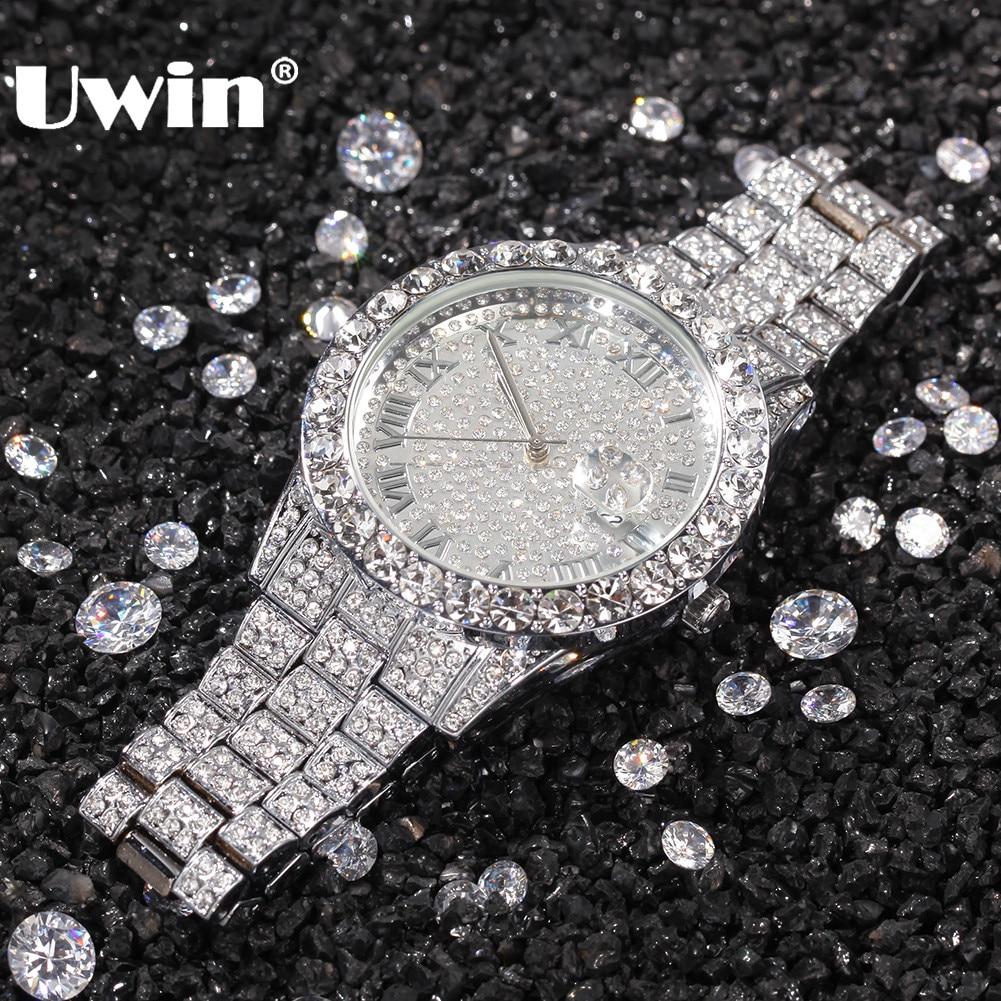 UWIN Men Women Watches Stainless Steel Band Fashion Luxury Rhinestones Quartz Elegant Casual Wristwatches Business Watch