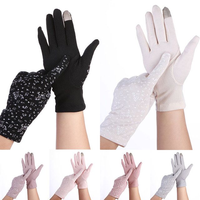 1 Pair Anti UV Summer Thin Driving Gloves Breathable Non-slip Cotton Women Gloves Outdoor Touch Screen Sunscreen Stretch Gloves