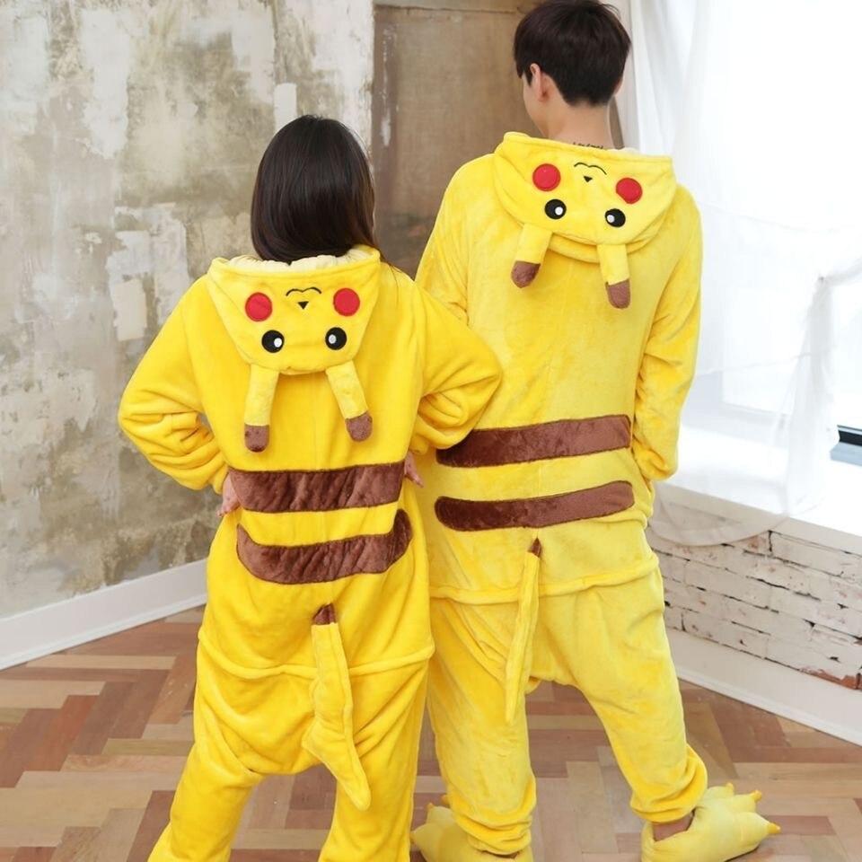 anime Pikachu pajamas kigurumi Flannel Adult child pajamas Cartoon Animal Lovely Cosplay Winter Pajamas Suit Costume