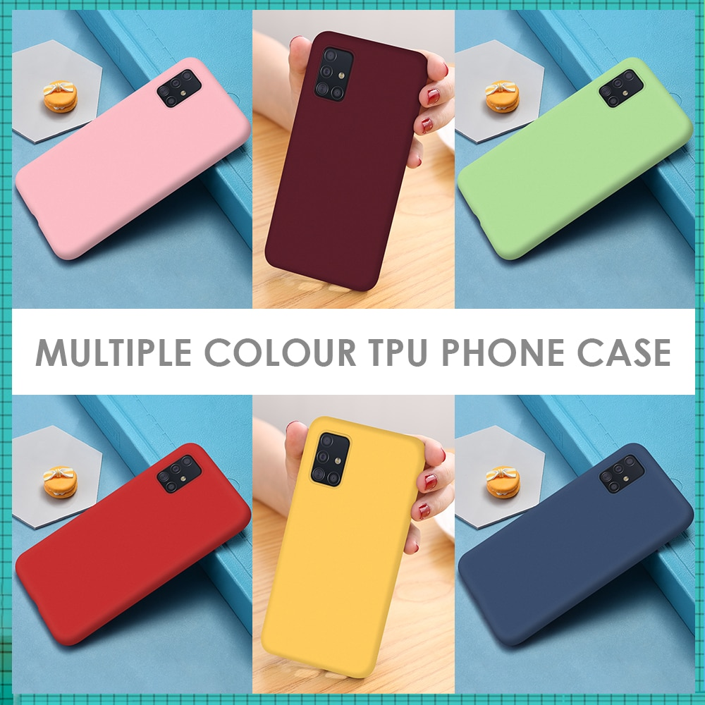 Funda de teléfono de silicona de Color caramelo para Samsung Galaxy A51 SM-A515F/DSN A71SM-A715F/DS a51 a71, funda de TPU suave para Samsung A 51 A 71