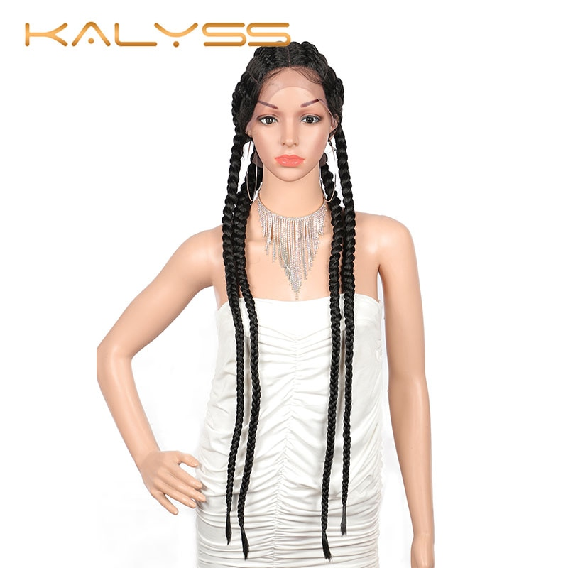 Kalyss 31'' Extra Long 100% Hand Braided 360 Swiss Lace Front Double Dutch Braided Wigs with Baby Hair for Women Twisted Wig