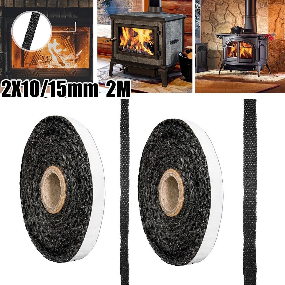 Черная плоская веревка для плиты, клейкий стеклянный уплотнитель для плиты, огнеупорный канат 10 мм шириной X 2 мм, аксессуары для плиты из сте...
