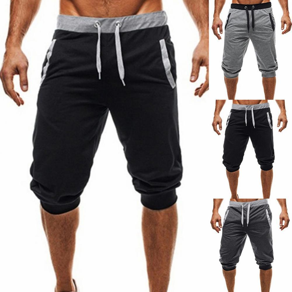 80% горячая Распродажа Для мужчин s мешковатые шорты джоггеры Повседневное тонкий шаровары короткие SlackSport впитывает пот и Штаны Drawstring Jogger ...