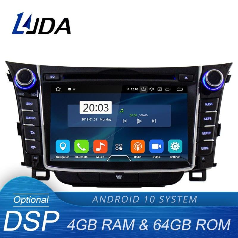 LJDA الروبوت 10 سيارة dvd لاعب ل هيونداي I30 إلنترا GT 2012 2013 2014 2015 2016 2 الدين راديو gps ستيريو الوسائط المتعددة 4G + 64G DSP