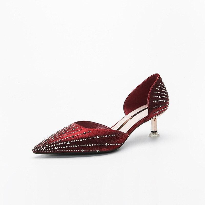 Женские туфли Стразы Glass, Новые французские туфли на шпильке 5 см