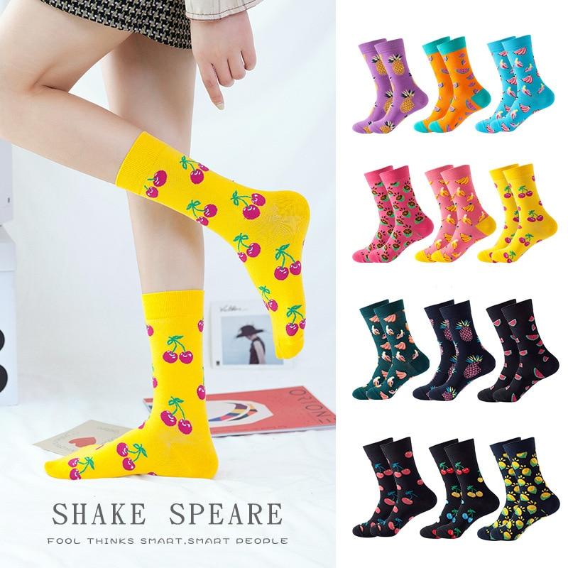 Calcetines de algodón de colores para mujer, calcetines divertidos y alegres para mujer, calcetines de frutas coloridos, calcetines bonitos para mujer, calcetines largos a la moda