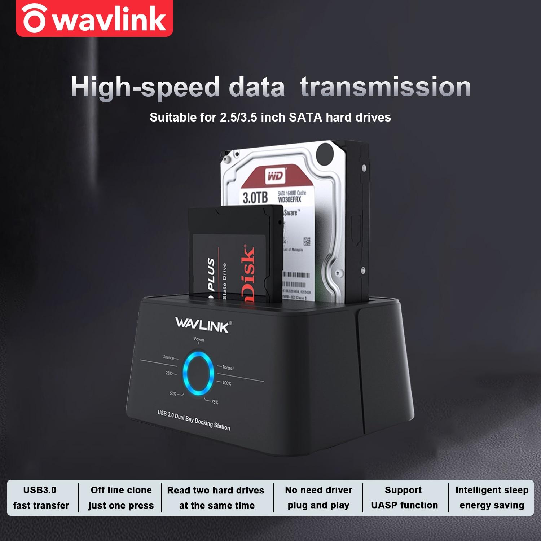 محطة إرساء Wavlink HDD ، حاوية محرك أقراص صلبة Sata إلى USB 3.0 ، محول لـ 2.5 3.5 SSD ، علبة قرص HD