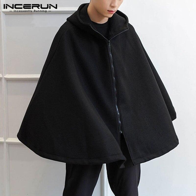Moda hombres Trench sólido con capucha ropa de calle con cremallera 2020 capa suelta capa sin mangas estilo Punk abrigos invierno Trench S-5XL INCERUN