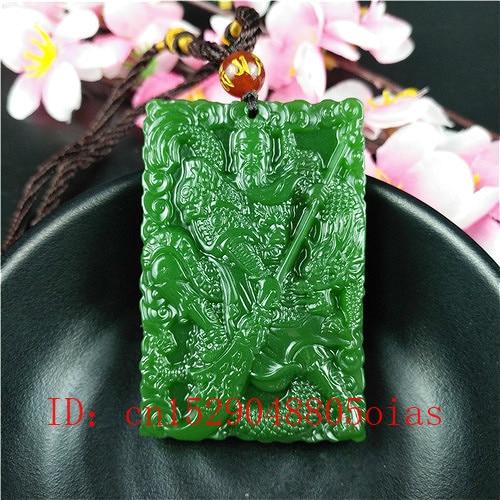 Colgante de dragón Guerrero Jade chino verde Natural collar accesorios a la moda amuleto joyería tallada amuleto Pixiu regalos para mujeres