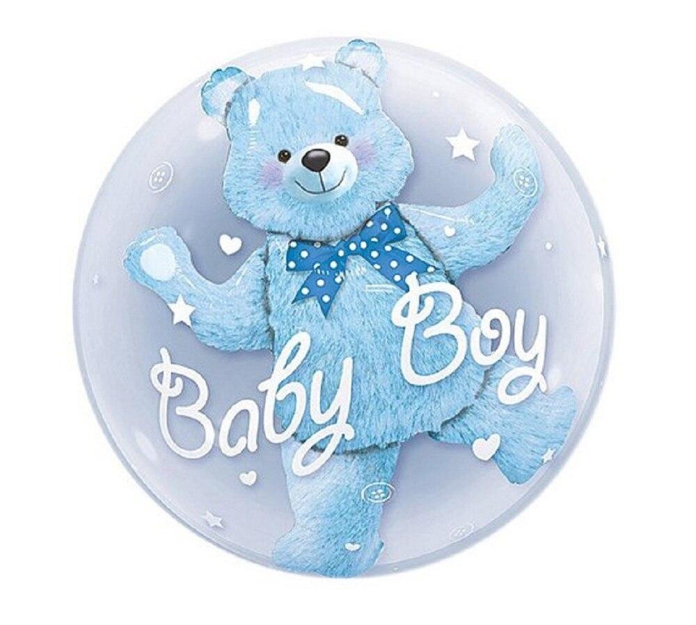 24-дюймовые воздушные шары из фольги для маленьких мальчиков и девочек, синие, розовые, Пузырьковые, с рисунком медведя, для дня рождения, веч...