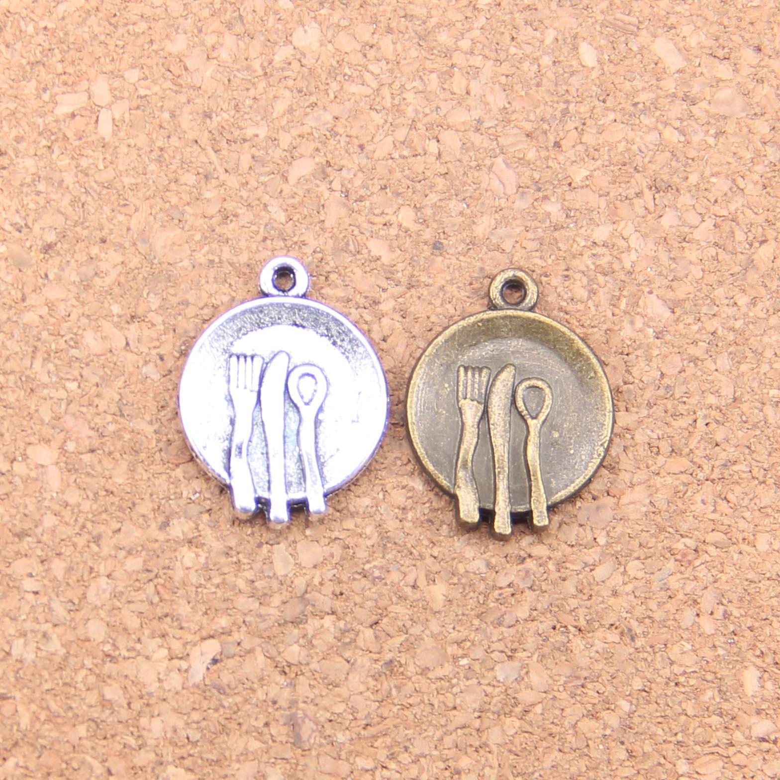18 шт Подвески кухонная посуда, вилка, ложка 20x15 мм старинные подвески, Винтаж ювелирные изделия из тибетского серебра, «сделай сам» для браслетов и ожерелий
