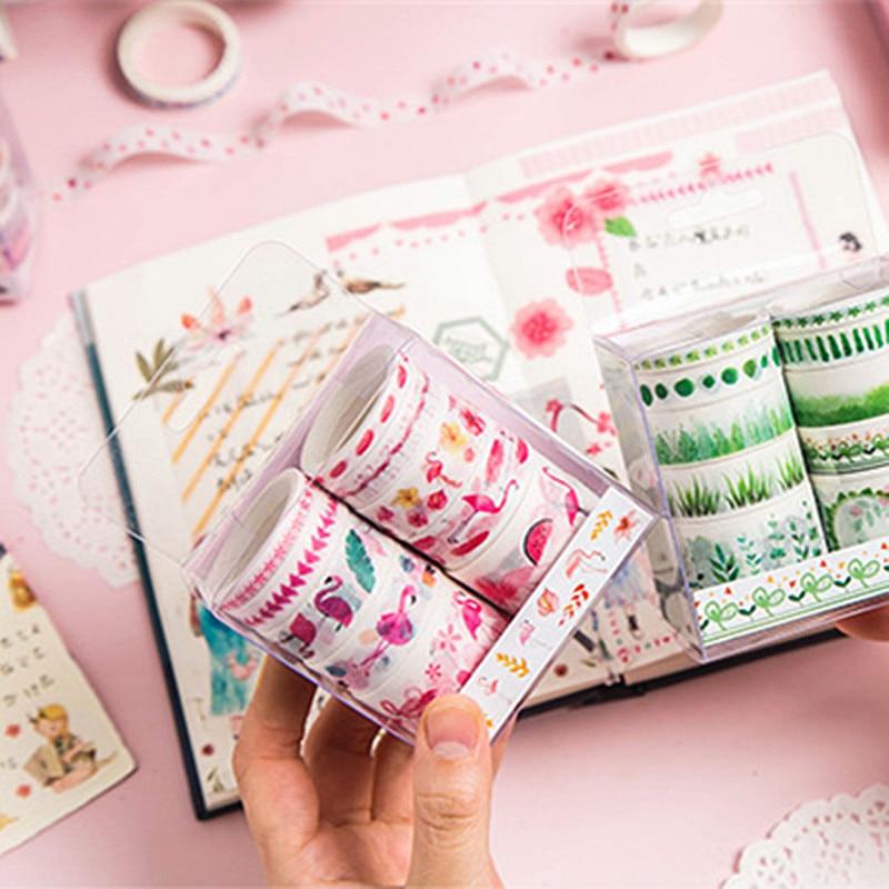 10 шт. Sukura Единорог Фламинго лента Washi Скрапбукинг клейкой наклейки для DIY стационарный подарок рождества декор школьные принадлежности