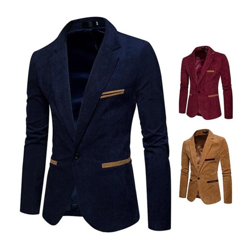 Los hombres solo traje de pana color de moda casual chaqueta pequeña...