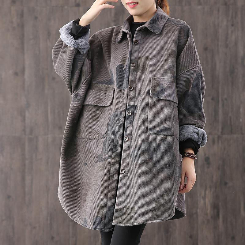 Oversized Camouflage Print Corduroy Blouse Women Autumn Winter Plus Velvet Thick Long Sleeve Casual Tops Vintage Base Shirt 2020