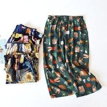 Summer Loose-Fit Viscose Pajama Pants Breathable Calf-Length Pants Printing Satin Shorts Women Sleep