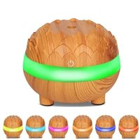 Usb humidificateur dair Grain de bois arome Diffuse 300ML bureau Humidificador mini decoration huile essentielle brumisateur fabricant lumiere LED pour la maison