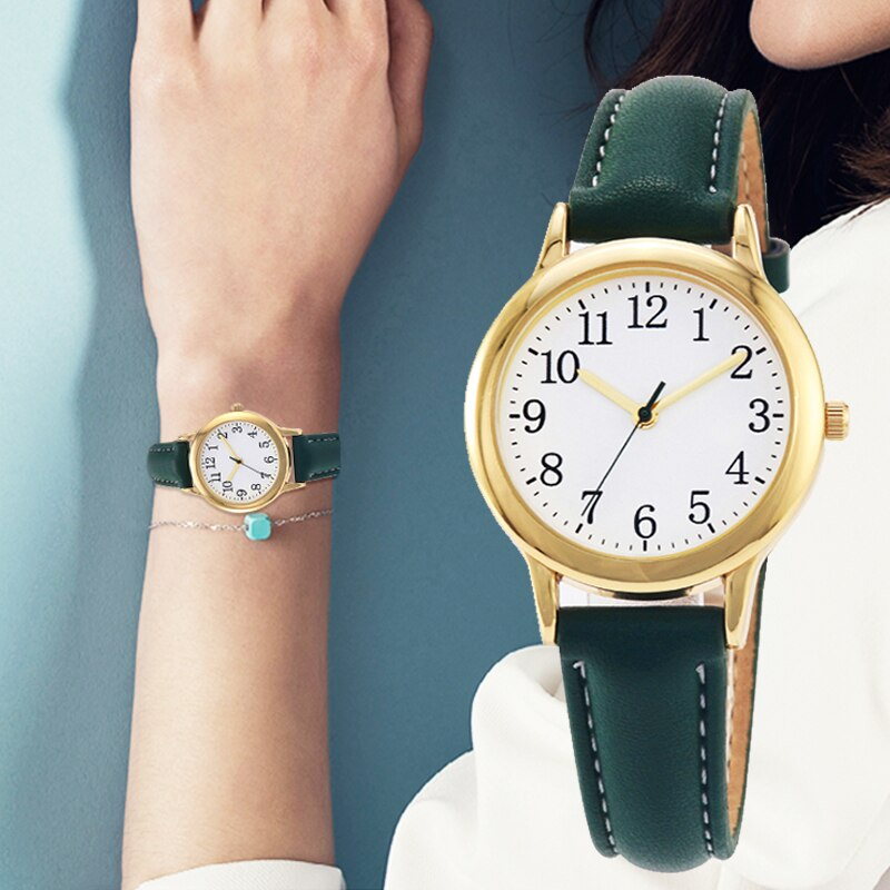 Japan Movement Women Quartz Watch Arabic Numbers Easy Reading Leather Straps Lady Candy Color Simple Dial enlarge