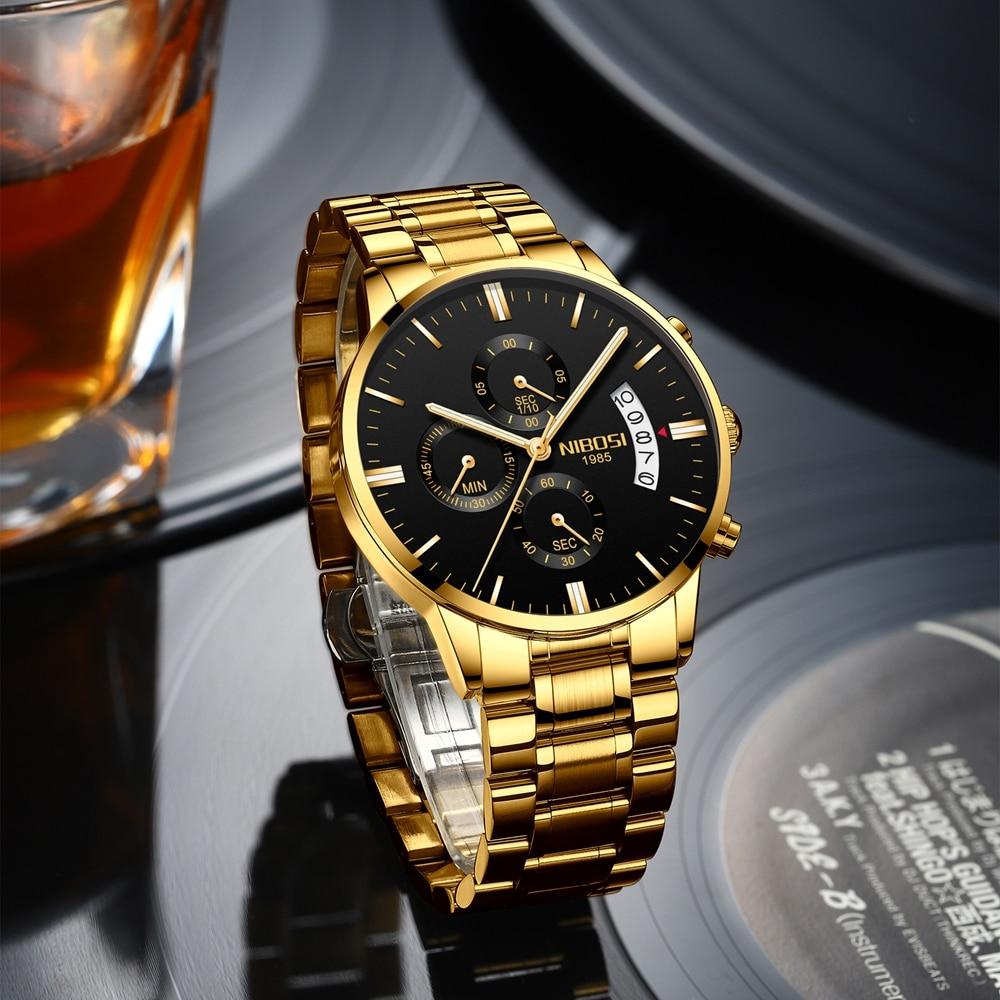 ساعة يد نسائية فاخرة من NIBOSI, ساعة يد بتصميم ذو علامة تجارية فاخرة لرجال الأعمال