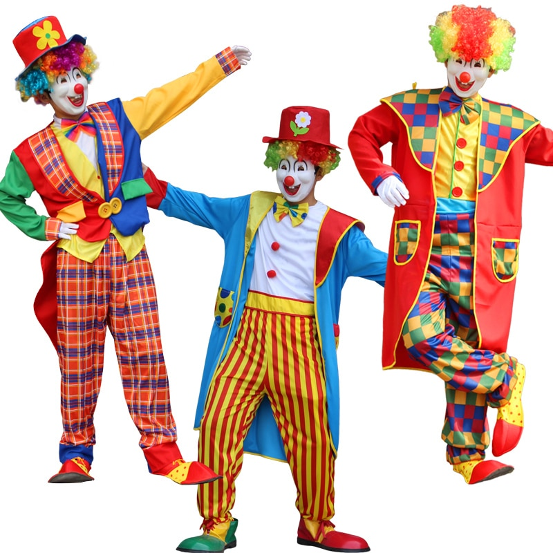 Halloween men clown costume Funny Circus Clown Costume Naughty Harlequin Uniform Fancy Circus Dress Cosplay Clothing for Adult pennywise costume stephen king s it scary clown mask costume adult men women horror halloween pennywise the clown costume
