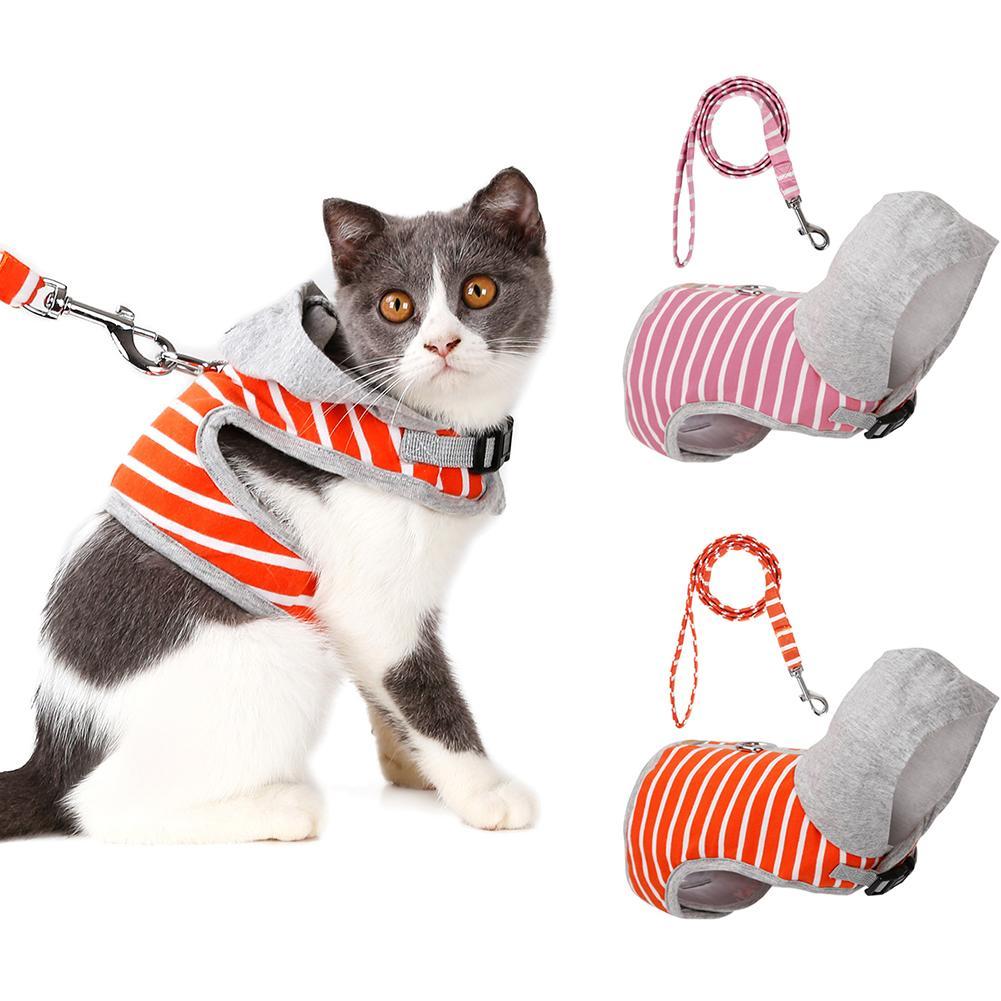Новый поводок для кошек, поводок для домашних животных, удобный Стильный хлопковый поводок для собак, поводок для кошек, набор для маленьких...