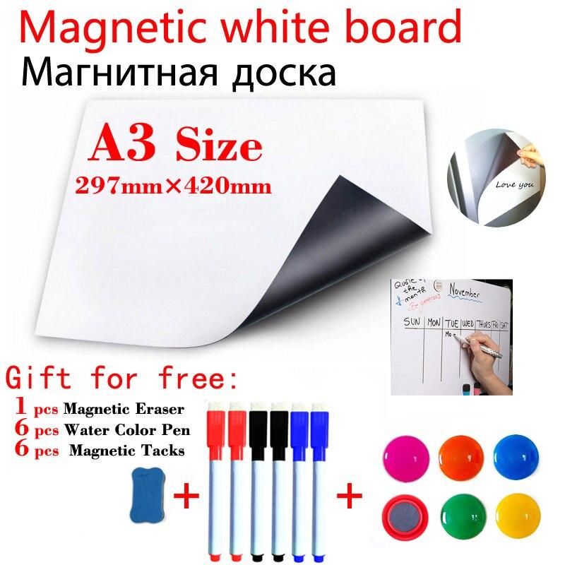 Доска Белая магнитная стираемая с календарем, наклейки на холодильник для детей, дома, офиса, школы, сообщений, A3