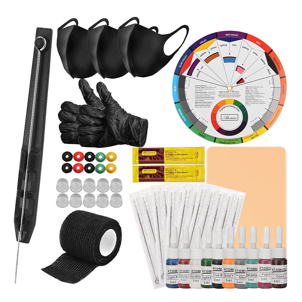 Tattoo Kit Anself Hand Poke Stick Tattoo Pen Ink Cup 9RL Needles Set Includes With Bandages For Tattoo Artists Beginners