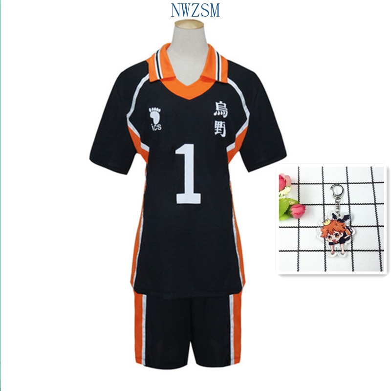 Disfraz Haikyuu Karasuno, traje de voleibol escolar, Club Hinata Shoyo, ropa deportiva, Jersey, uniforme, llavero, conjunto de zapatos Haikyuu